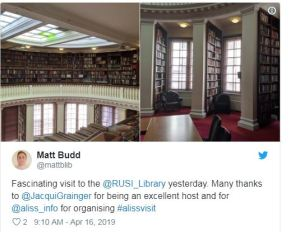 Photo of Aliss visit to RUSI Library