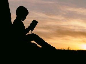 Boy reading calmly