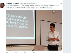 """Marilyn Clarke, Goldsmiths University, talking about """"Liberate our Library"""" ALISS AGM 2019"""