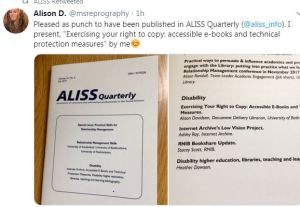 Image of aliss quarterly article tweeted by proud author A. Davidson
